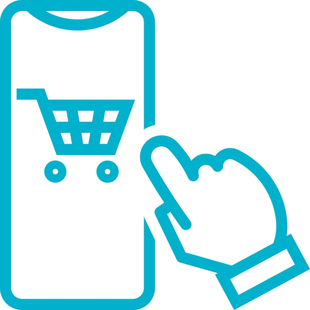 Online shopping experience icon